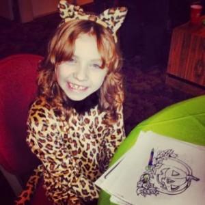Salem Green kid wearing Cheetah costume