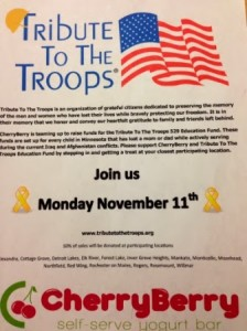 CherryBerry promotional poster describing their Tribute to the Troops promotion