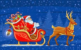 Santa in his sleigh filled with presents and being pulled by a reindeer