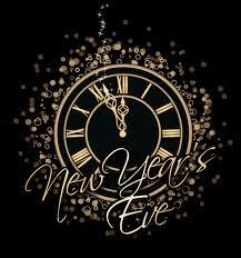 Drawing of clock about to strike midnight to start the new year.