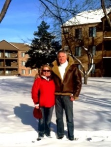 photo of Kathy and John at Eagle Ridge Apartments during winter.