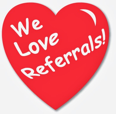clip art of red heart with words We Love Referrals!