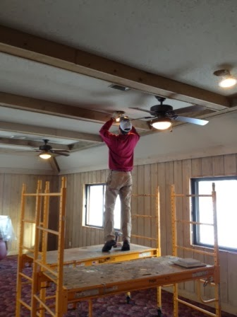 Ryan on indoor scaffolding