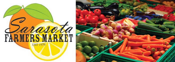 Logo of Sarasota Farmers Market and bins of fresh vegetables