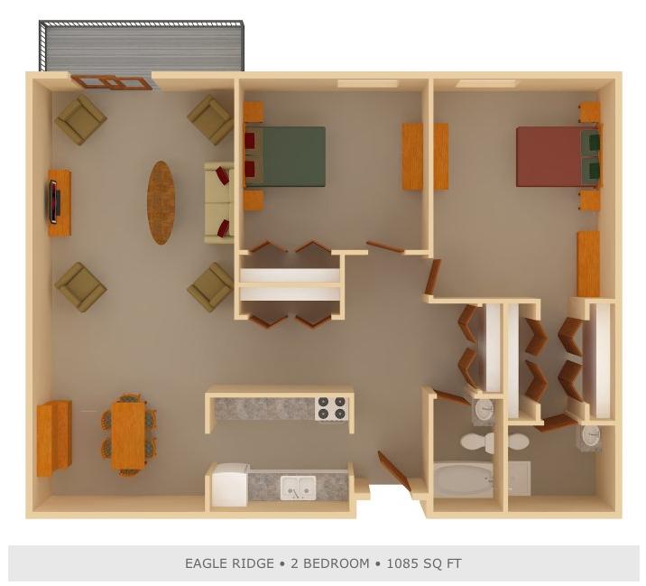 2 Bedroom, 1.75 Bathroom