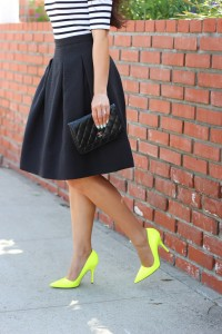 Yellow pumps with office attire